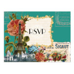 Teal Vintage Eiffel Tower Rose Save the Date Card Post Card