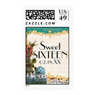 Teal Vintage Eiffel Tower Rose Sweet 16 Parties Stamps