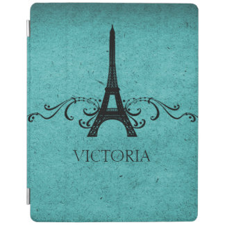 Teal Vintage French Flourish iPad Cover