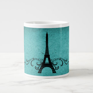 Teal Vintage French Flourish Large Coffee Mug