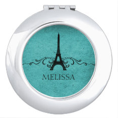 Teal Vintage French Flourish Mirror For Makeup at Zazzle