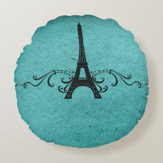 Teal Vintage French Flourish Round Pillow