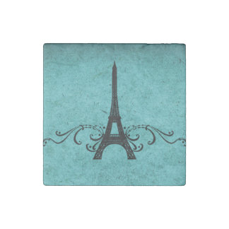 Teal Vintage French Flourish Stone Magnet