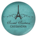 Teal Vintage French Flourish Sweet 16 Plate