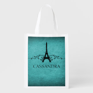Teal Vintage French Flourish Grocery Bags