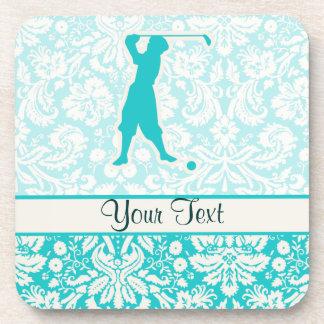 Teal Vintage Golfer Coaster