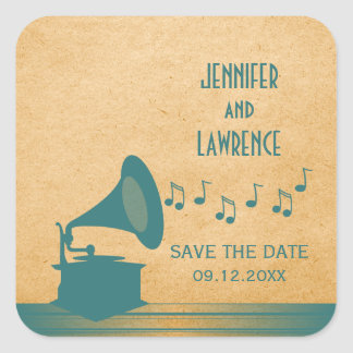 Teal Vintage Gramophone Save the Date Stickers