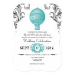 Teal Vintage Hot Air Balloon Wedding Invites