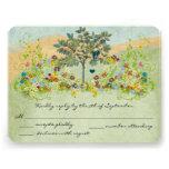 Teal Vintage Love Bird Flower Swirl Wedding RSVP Personalized Invites