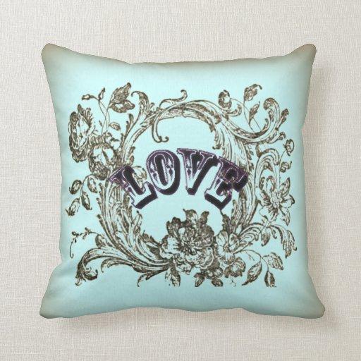 Decorative Victorian Pillows : Teal Vintage Love Victorian Decorative Pillow Zazzle