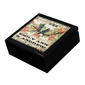 Teal Vintage Luv Bird Purple Cherry Blossom Branch giftbox
