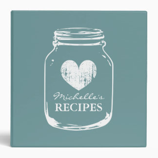 Teal vintage mason jar kitchen recipe binder book