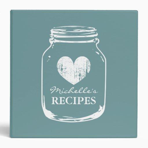 Teal vintage mason jar kitchen recipe binder book