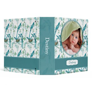 Teal Vintage Moma Papa and Baby Bird -Your Photo binder