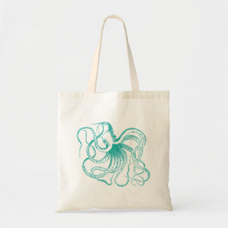 Teal Vintage Octopus Illustration Tote Bags