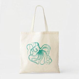 Teal Vintage Octopus Illustration Tote Bag