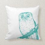 Teal Vintage Owl and Polka Dots Throw Pillow