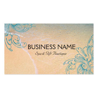 Teal Vintage Retro Sea Shell Scroll Beach Double-Sided Standard Business Cards (Pack Of 100)