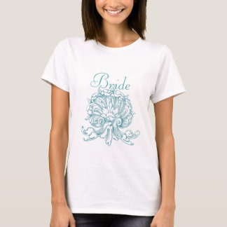 Teal Vintage Sea Shell Scroll Wedding Bride T-Shirt