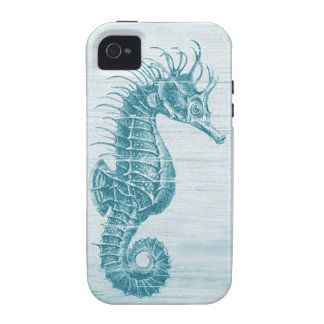 teal vintage seahorse Case-Mate iPhone 4 case