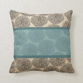 Teal Vintage Zinnia Pillow