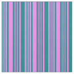 [ Thumbnail: Teal & Violet Colored Lines/Stripes Pattern Fabric ]