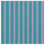 [ Thumbnail: Teal & Violet Colored Stripes/Lines Pattern Fabric ]