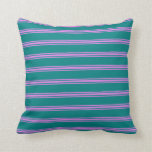 [ Thumbnail: Teal & Violet Colored Stripes/Lines Pattern Pillow ]