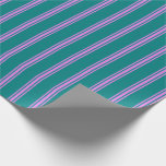 [ Thumbnail: Teal & Violet Colored Stripes/Lines Pattern Wrapping Paper ]