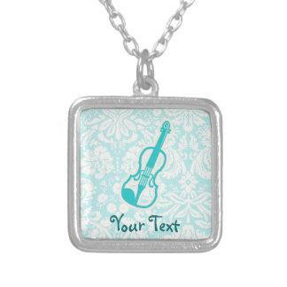 Teal Violin Square Pendant Necklace