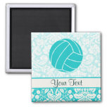 Teal Volleyball 2 Inch Square Magnet