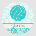 Teal Volleyball Classic Round Sticker