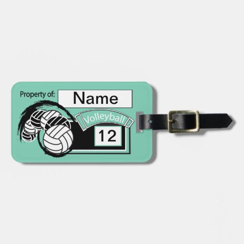 Teal Volleyball   DIY Background Color Luggage Tag