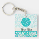 Teal Volleyball Double-Sided Square Acrylic Keychain