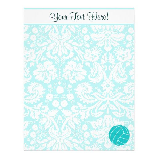Teal Volleyball Letterhead Design