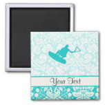 Teal Wakeboarder 2 Inch Square Magnet