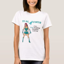 Teal Warrior T-Shirt Ovarian Cancer Design 2