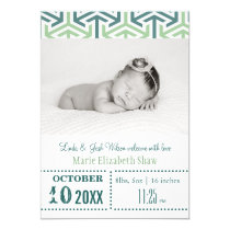 Teal Wasabi Pattern Mod baby announcement