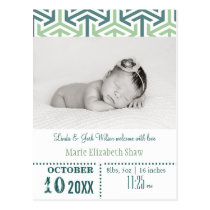 Teal Wasabi Pattern Mod baby announcement Postcard