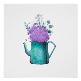 Teal Water Can with Flowers Painted Poster Print