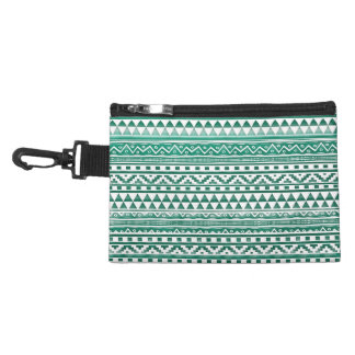 Teal Watercolor Abstract Aztec Tribal Print Pattrn Accessory Bags