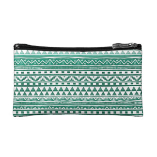 Teal Watercolor Abstract Aztec Tribal Print Pattrn Cosmetic Bag