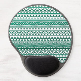 Teal Watercolor Abstract Aztec Tribal Print Pattrn Gel Mouse Pad