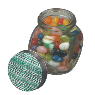 Teal Watercolor Abstract Aztec Tribal Print Pattrn Jelly Belly Candy Jar
