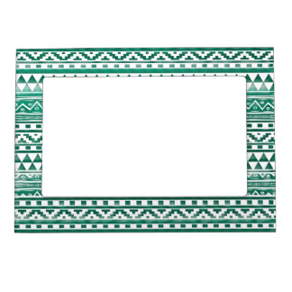 Teal Watercolor Abstract Aztec Tribal Print Pattrn Magnetic Photo Frames
