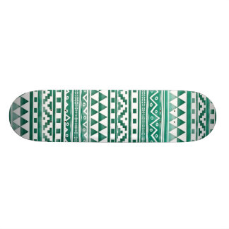Teal Watercolor Abstract Aztec Tribal Print Pattrn Skateboard Deck