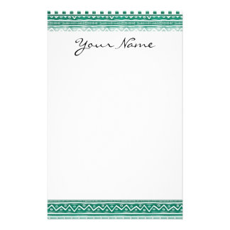 Teal Watercolor Abstract Aztec Tribal Print Pattrn Stationery