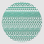 Teal Watercolor Abstract Aztec Tribal Print Pattrn Classic Round Sticker