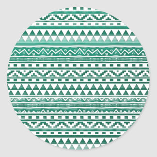Teal Watercolor Abstract Aztec Tribal Print Pattrn Round Sticker