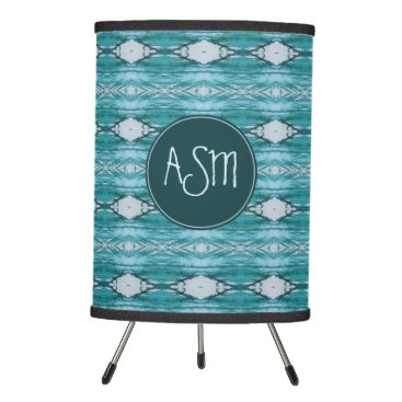 Aztec Themed Teal Watercolor Aztec Tribal Pattern | Monogram Tripod Lamp